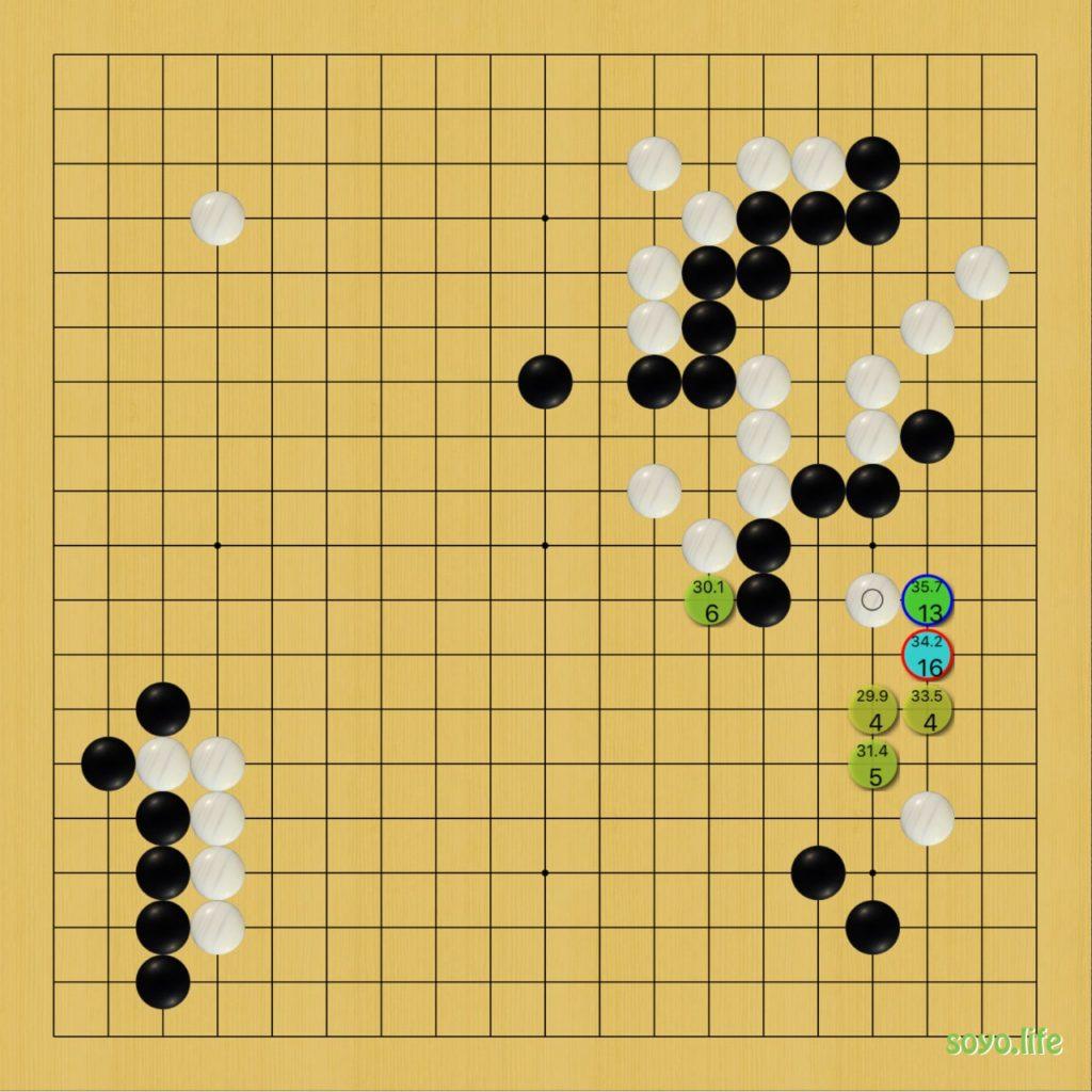 囲碁の師匠の検討画面